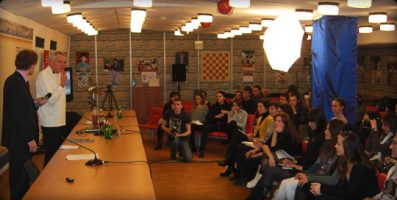 Gil Bettman lectures at Institute of Film, Television and Radio, Estankino, Moscow.